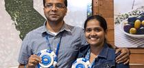 Sreejumon Kundilepurayil, left, and Vidya Kannoly and their Dr. Green app took first place in the Apps for Ag hackathon. Dr. Green uses artificial intelligence and machine learning to quickly advise growers how to treat ailing plants. for ANR news releases Blog