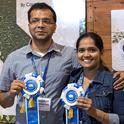 Sreejumon Kundilepurayil, left, and Vidya Kannoly and their Dr. Green app took first place in the Apps for Ag hackathon. Dr. Green uses artificial intelligence and machine learning to quickly advise growers how to treat ailing plants.