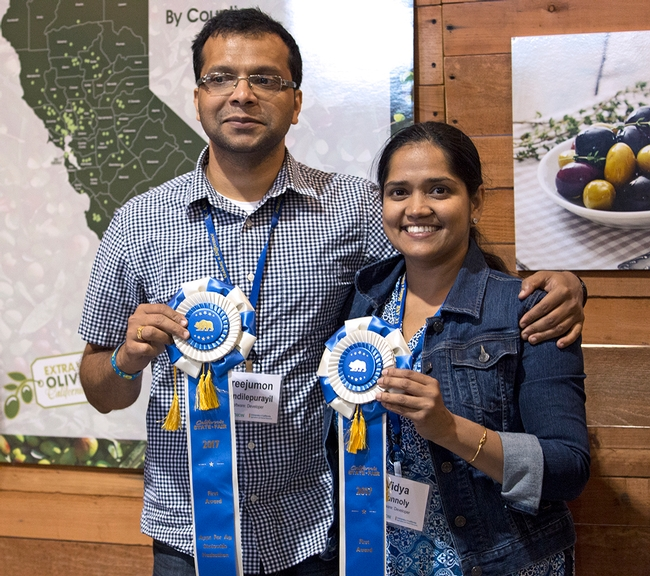 2017 Apps for Ag hackathon winners Sreejumon Kundilepurayil and Vidya Kannoly are getting help from UC ANR to commercialize their smartphone app.