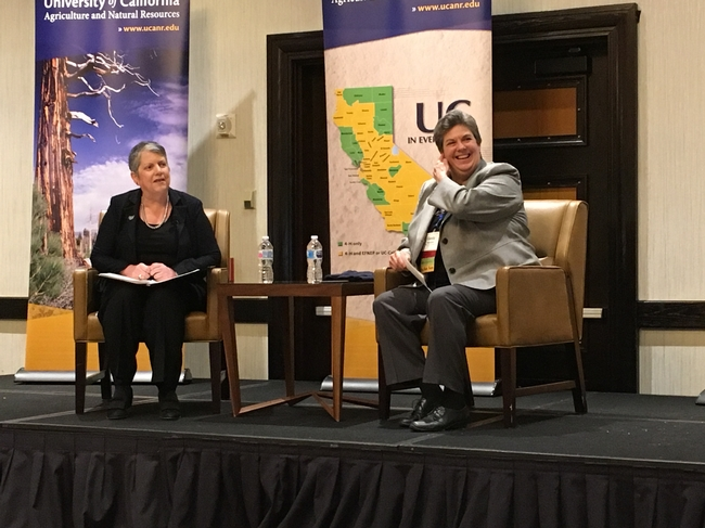 President Janet Napolitano, left, sat down with VP Humiston at UC ANR's statewide conference in 2018 to discuss UC ANR's role in advancing UC's Global Food, Carbon Neutrality and Mexico initiatives.