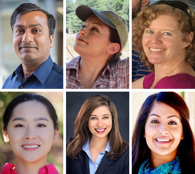 The new faces at UC ANR are, clockwise from top left, Safeeq Khan, Cindy Kron, Kim Ingram, Karmjot Randhawa, Mallika Nocco and Qi Zhou.