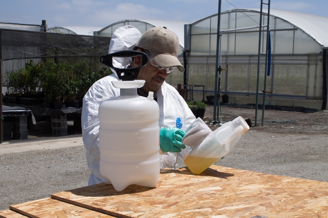 Coveralls should be worn for applications where contact with spray residue is likely.