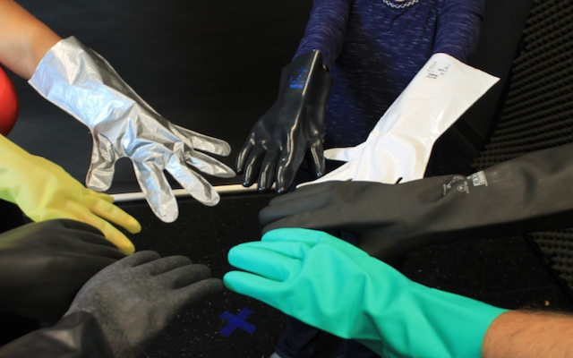 Some common chemical resistant materials for gloves are barrier laminate, butyl rubber, nitrile rubber, neoprene rubber, natural rubber, polyethylene, polyvinylchloride (PVC) and viton rubber.
