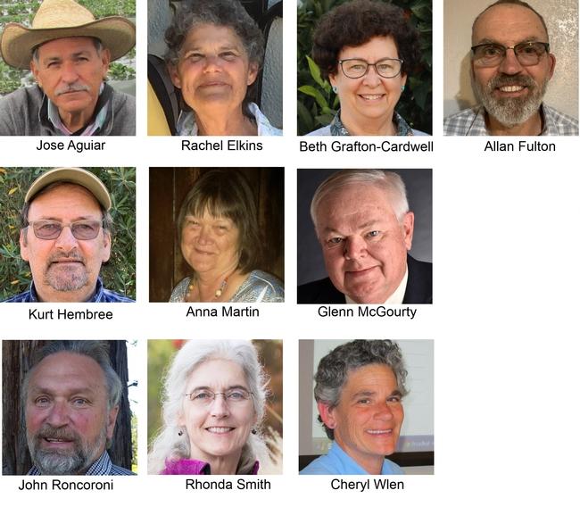 UC ANR's 2020 academic retirees.