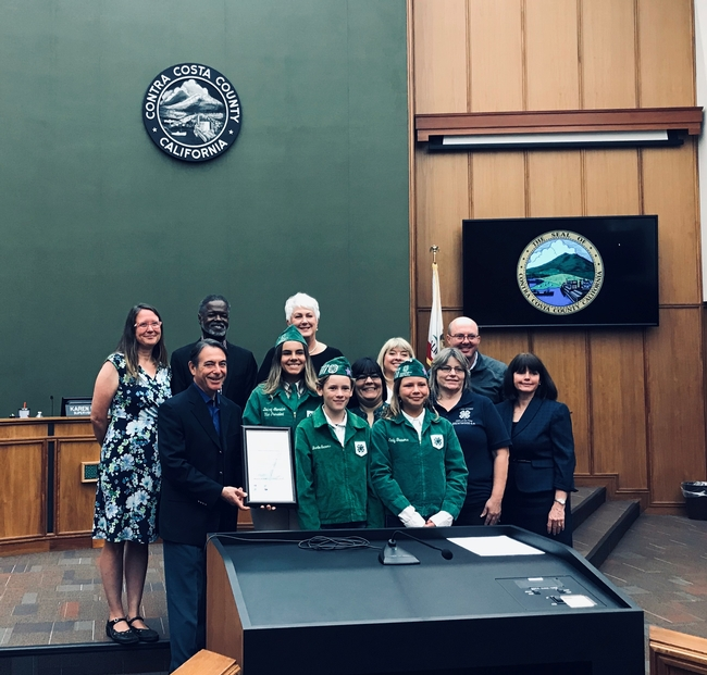Brentwood 4-H Receiving Proclamation in BOS Chambers (Photo courtesy of Rob Bennaton)
