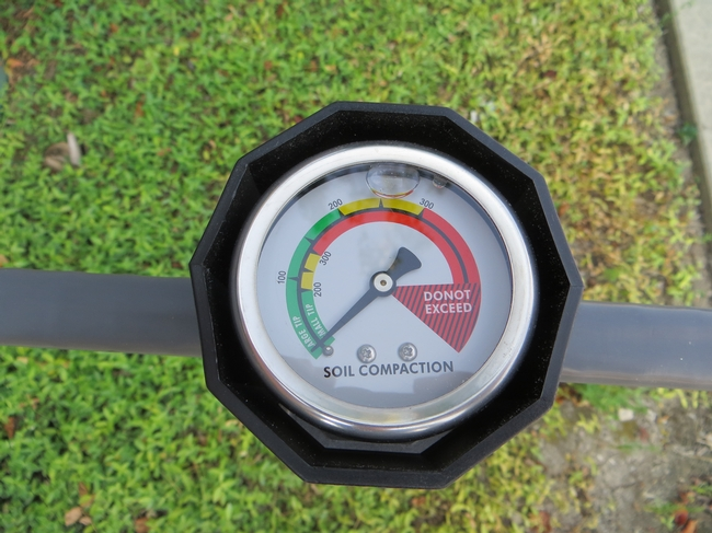 Soil compaction meter. Generally, root growth is not hindered when soil resistance is less than 300 psi.