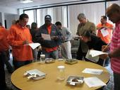 Los Angeles County Public Works Department employees learn to recognize and report aquatic invasive species. Photo by Jessica Chen.