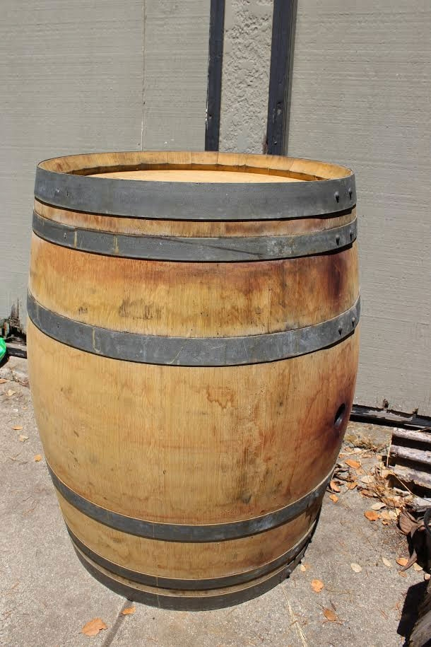 Wine barrel turned water storage.
