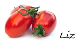 Signature of Liz with tomato
