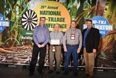 CASI Workgroup members Jeff Mitchell (second from left), Michael Crowell (third from left), and Monte Bottens (right) receiving National No-till Farmer 2017 Organization Innovator acknowledgement at the 2018 Annual Conference of the Association in Louisville, KY, January 23, 2018