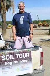 CASI's Jeff Mitchell prepares for the final 2019 Friday soil tour and demonstration offering on June 28 at the NRI Project in Five Points, CA
