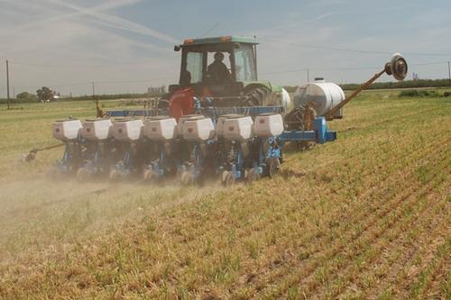 Planting a no-till farm.