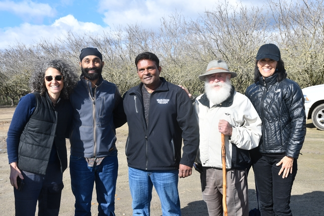 Dr. Daphne Miller MD, Dr. Jagdeep Singh MD, Jagdeep Singh's father, Tom Willey, and Sharon Meers at the Singh's almond orchard in Madera, CA January 21, 2019