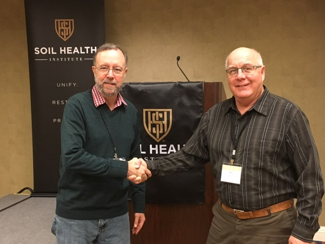 NRCS's Rob Roy (left), Area 3 Agronomist, and Paul Tracy (right) of the Soil Health Institute at the kick-off meeting of the North American long-term study site soil health project in Chicago, IL, January 23 and 24, 2019.