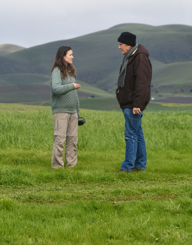 Jessica Chiartas and Tim LaSalle talking about what they've heard during the cover crop workshop at Paicines Ranch, February 7th through 9th