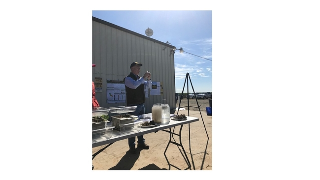 Dan Munk conducting a live demonstration of soil aggregation for Merced, CA public field educational event on March 21, 2019