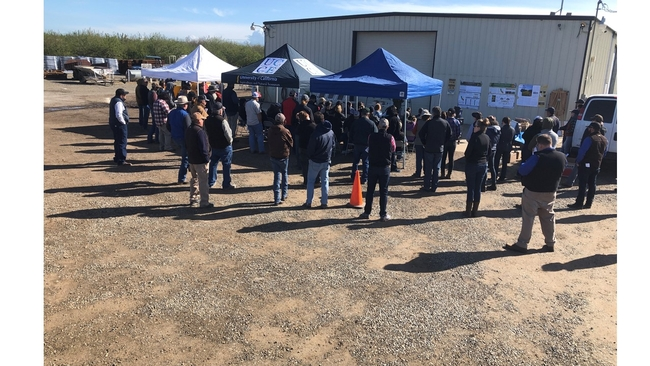 Participants in Merced, CA almond orchard public field day on cover cropping, March 21, 2019