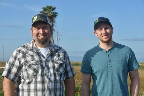Andrew Molinar (left) and Keith Heidecorn of Locus Agricultural Solutions visit the NRI Project on May 17th 2019