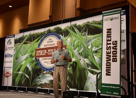 "CASI's Jeff Mitchell delivering presentation on ""Changing the production landscape with smarter strip-till practices"" at the 2019 National Strip-till Farmer conference in Peoria, IL, August 1st and 2nd 2019"