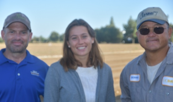 Mazarine Foustel (center) visiting PLS111 field lab that is being set up for this fall's agronomy students on the UC Davis campus.  Hosting her are Lab Teaching Coordinator, Ryan Eadry (left), and Derrick Lum (right), Manager of the Department of Plant Sciences field headquarters at UC Davis.