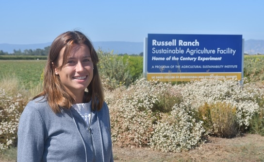 French agricultural engineering student and Dwayne Beck summer intern, Mazarine Foustel, visiting the Century Experiment at the LTRAS long-term study site on the UC Davis campus