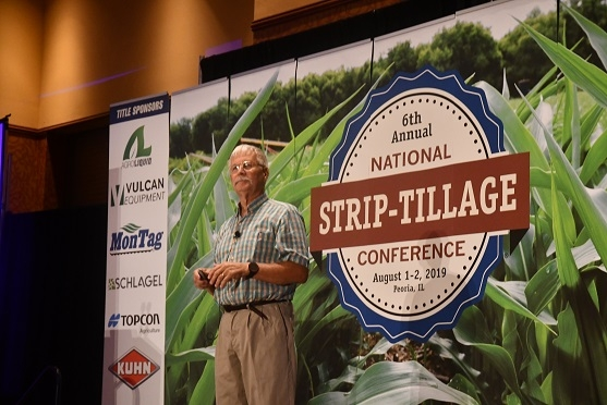 CASI's Jeff Mitchell delivering presentation on strip-tillage in CA at the 2019 National Strip-till Farmer Association's annual meeting in Peoria, IL on August 2, 2019