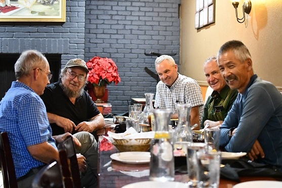 Rick Reed, (left to right) Dan Cohen, Rich Collins, Bob Bugg and Gene Miyao at Kathmandu Kitchen in Davis CA during Reed's CA tour of conservation agriculture farms