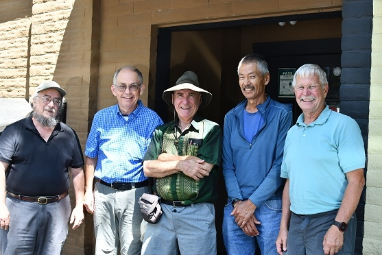 Dan Cohen (left to right), Rick Reed, Bob Bugg, Gene Miyao and Jeff Mitchell at Kathmandu Kitchen in Davis, CA as part of CASI hosting of Reed