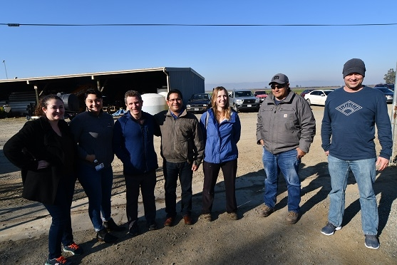 Newly-initiated vegetable and chicken organic study project team visiting the California study site at the LTRAS Facility on the UC Davis campus, February 7, 2020.  (left to right) Student Assistant working with Dr. Maurice Pitesky, Sarai Acosta, Maurice Pitesky, Ajay Nair, Nicole Tautges, Israel Herrera, and Brandon Carpenter