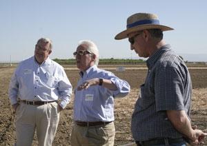 Left to right, farmer John Diener, U.S. Rep. Jim Costa and UCCE farm advisor Dan Munk.