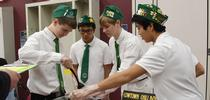 The Cowtown Chili Boys of the Vaca Valley 4-H Club test the temperature of their chili at the Solano County 4-H Chili Cook-Off.(Photo by Kathy Keatley Garvey) for California 4-H Grown Blog