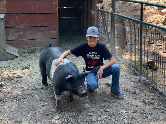 Bodie of Indian Valley 4-H with Hampshire cross hog Smokey