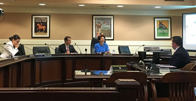 UC ANR Chief Innovation Officer Gabe Youtsey, far left, testifies before Rep. Anna Caballero (blue jacket), staffer Peter Ansel, and Rep. Monique Limón. (Photo: Anna Megaro)