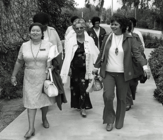 EFNEP educators Inez Cisneros, Betty Miles, Emma Casas, Bertha Zermeno and Celia Guitierrez. Date unknown.