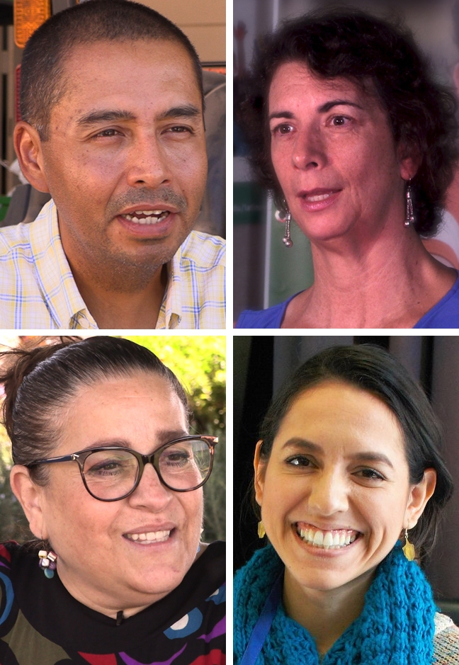 View four videos profiling UC ANR staff and academics, (top left to right) Jairo Diaz, Fe Moncloa, Maria de la Fuente and Aileen Carrasco-Trujillo.