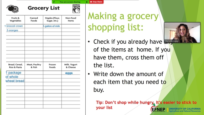 After planning meals and making a shopping list, one Expanded Food & Nutrition Education Program participant said her usual bill of almost $200 per shopping trip went down to $89.