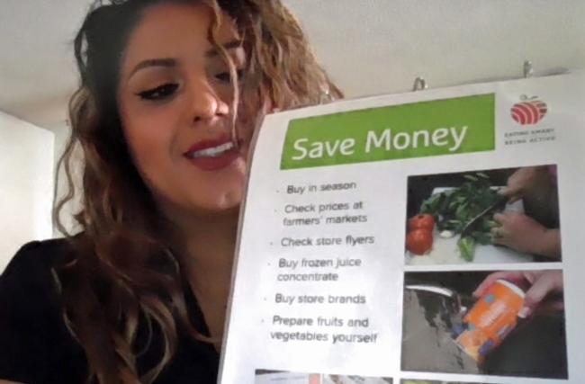 Mariana Lopez, EFNEP nutrition educator, leads the plan, shop and save lesson via Zoom.