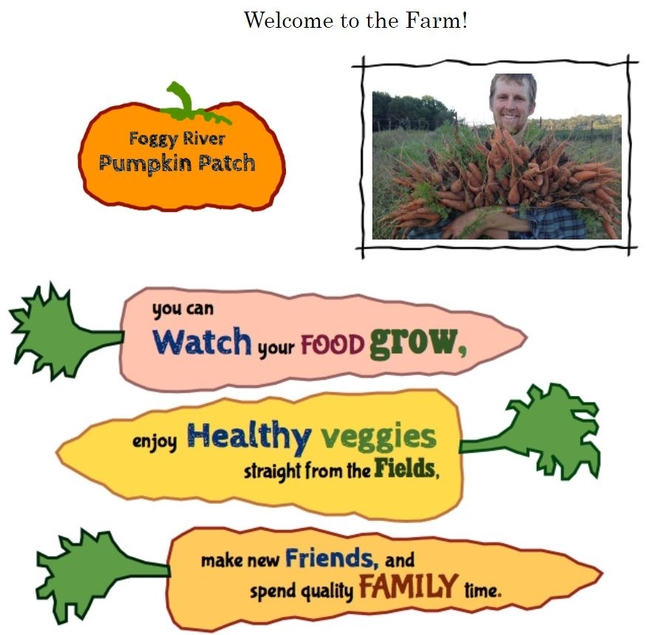 Screen capture from Foggy River Farm website