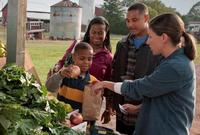 People enjoy selecting fresh produce