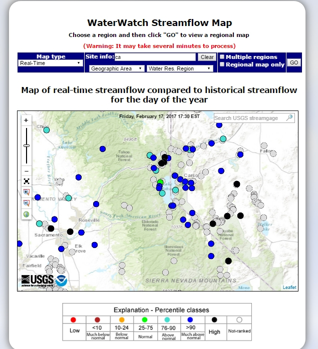 USGS real tiime stream flow map
