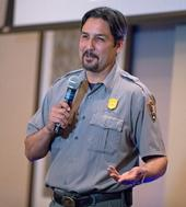Tom Garcia, fire management officer with the Whiskeytown National Recreation Area, spoke at the UC ANR Fire Summit. (Photo: Evett Kilmartin)