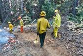 Landowners at a UCCE prescribed fire training are 'holding' the fire on the left side of the fire line that was cut using rakes and other hand tools. The landowner on the far left is firing the burn unit with a drip torch. (Photo: Ames Gilbert)