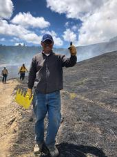 A new Humboldt County PBA participant enjoys his first prescribed burn in June 2019. (Photo: Lenya Quinn-Davidson)