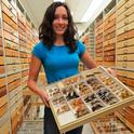 UC Berkeley graduate student Joan Ball holds a display of specimens at the Essig Museum of Entomology. (Marek Jacubowski photo)