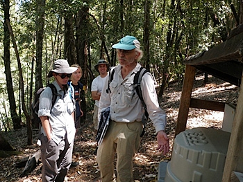 Bill Dietrich and students at the study site.