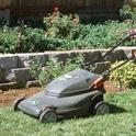 An electric mulching mower, which cuts grass clippings into fine pieces and leaves them on the lawn. (Photo: Cheryl Reynolds)