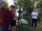 Missy Gable, director of the UC Master Gardener Program, works on video series.