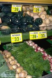 Produce in a grocery store.