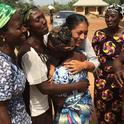 Women express their appreciation to Maria Alfaro for coming to Ebonyi State in Nigeria.