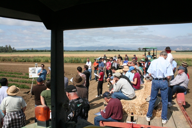A researcher speaks at the 2015 Russell Field Day.
